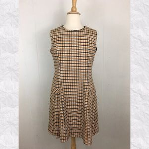 Vintage Houndstooth Crew Neck Pleated Dress